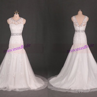 Long ivory tulle lace wedding dress with crystals,elegant women dresses for bridal,cheap wedding gowns under 250.