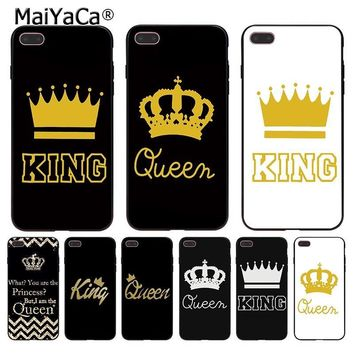 Cool MaiYaCa For iphone 7 6 X 8 Case Queen King Crown PRINCESS Gold Black Phone Case for iPhone 8 7 6 6S Plus X 5 5S XS XR XSMAXAT_93_12