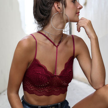 What Makes You Beautiful Burgundy Strappy Bralette