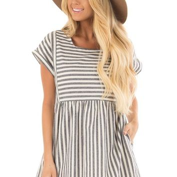 Navy Striped Babydoll Dress with Side Pockets