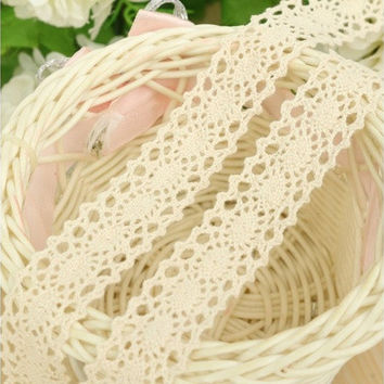 3 Yards Beige Ivory Crochet Cotton Lace Vintage Bridal Wedding Trim Ribbon Craft  [7980699975]