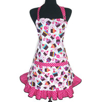 Cupcake Apron for Women , Pink Polka Dot Ruffle , Retro Kitchen Decor