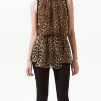LEOPARD PRINT CHIFFON BLOUSE WITH PIPING - Shirts - Woman - ZARA United States