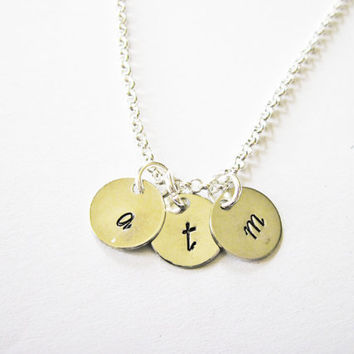 Three Initials Necklace, Triple coin Necklace, engraved 3 initials necklace, hand stamped initial necklace, personalized jewelry, 3 friends