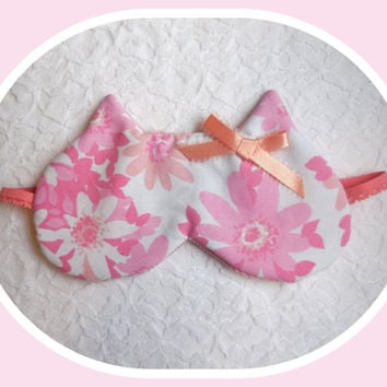 Kitty Ears Sleeping Mask - Soft Cotton Dark Comfortable - Cute Cat Nap Eye Cover - Women - Teen Girl - Hot Pink - Flowers - Peach Satin Bow