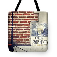 """Calle Sacramento Madrid street sign Tote Bag for Sale by Ivy Ho (18"""" x 18"""")"""