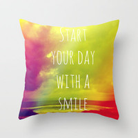 Start your day with a smile! Throw Pillow by Louise Machado