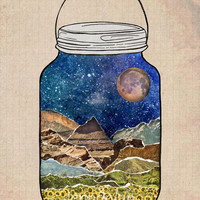 mason jar nature poster star jar mountain wall art 8 x 10 PRINT starry sky night sky