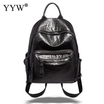 Girls bookbag High Quality Leather Backpack Women Casual Girl Bags Teenager School Bookbags Simple Zipper Canvas for Ladies Backpacks AT_52_3