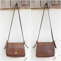 Vintage Authentic Brown COACH Rambler's Legacy 9061 Messenger / Shouder Bag / Crossbody Bag / Purse / Medium