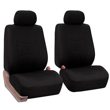 FH GROUP FH-FB050102 Pair Set Flat Cloth Car Seat Covers, Solid Black - Fit Most Car, Truck, Suv, or Van