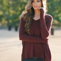 Delaney Knit V-Neck Burgundy Sweater