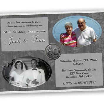 60th Wedding Anniversary Invitations - 60th Wedding Anniversary - 60th Anniversary - 60th Wedding Then and Now - Then and Now Invitation