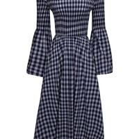 Blue Off Shoulder Stretch Top Checkered Midi Dress