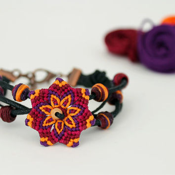 Textile Macrame Mandala Beaded Bracelet magenta purple orange