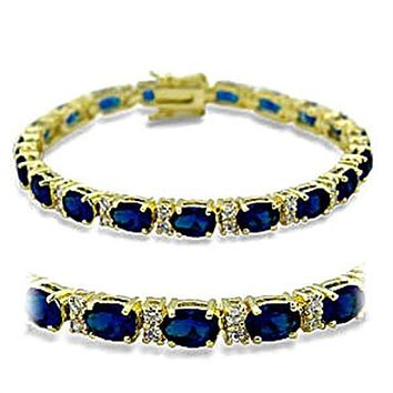 13ct Ladies Yellow Gold Plated Sapphire Blue Cz Tennis Bracelet 604d572a3