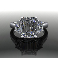 Forever Brilliant Moissanite Emerald Cut Engagement Ring 3.24 CTW