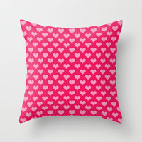 Pink Hearts Throw Pillow by Colorful Art