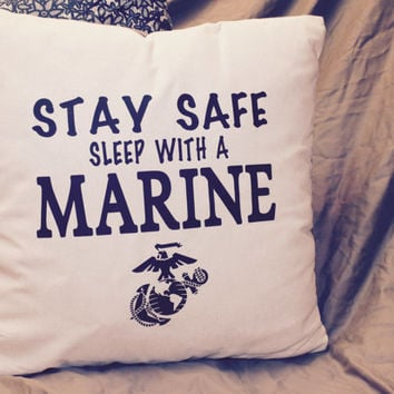 Stay safe sleep with a Marine pillow!! Navy Blue writing