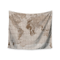 "Catherine Holcombe ""Emerald World"" Vintage Map Wall Tapestry"