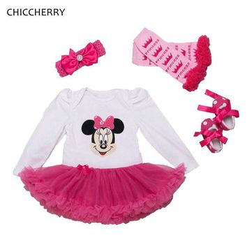 Baby Girls Minnie Mouse 4 pc. Set with Onesuit Tutu, Headband, Legwarmers & Shoes