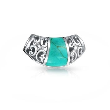 Bali Style Filigree 925 Sterling Silver Turquoise Inlay Slide Pendant