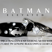 BATMAN 3 Piece Tungsten & 925 Sterling Silver 2.3 Carat TW NATURAL Black Onyx And Cz Wedding Set