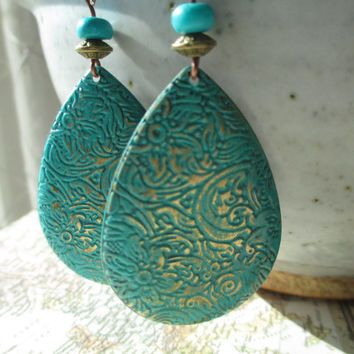 Turquoise Earrings Patina Earrings Boho Earrings Drop Earrings Dangle Earrings Jewelry Etched Lightweight earrings