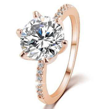 ONETOW Simple trendy crystal zircon ring fashion temperament real gold electroplating gem ring tail ring