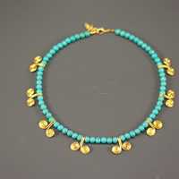 turquoise necklace-free shipping-turquoise gold wire wrapped necklace-wire wrapped jewelry handmade-turquoise jewelry