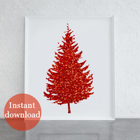 Printable red glitter Christmas tree, Christmas print, home decor, seasonal print, art that sparkles, cool art for Christmas, seasonal art