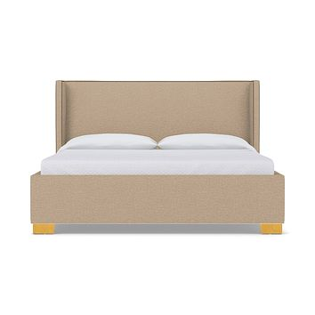 Everett Upholstered Bed :: Leg Finish: Natural / Size: Queen Size