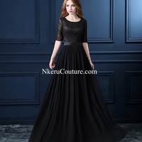 Soiree Black Lace Long Evening Dresses New Bridal Banquet Elegant Half Sleeved Chiffon Prom Gown Plus Size Custom size available Free Shipping FU22