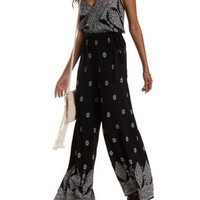 Black Combo Border Print Wrap Jumpsuit by Charlotte Russe