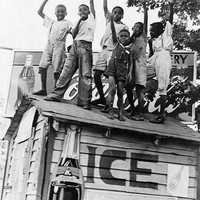 African American Boys with Coca-Cola Sign Little Rock AR 1938