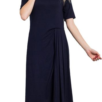Midi Dress With Side Pleated Panel