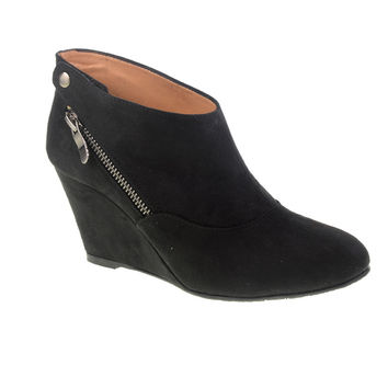 CL By Laundry Valerie Versatile Suede Wedge Ankle Bootie (Black)