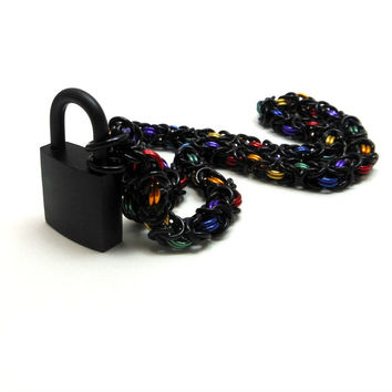 Unisex Black and Rainbow Slave Collar Byzantine Chainmail Choker with Padlock