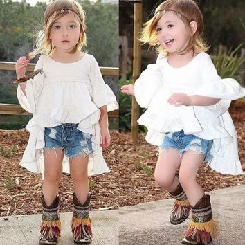 Ruffled Blouse Asymmetrical Tunic Top Kids White Shirt