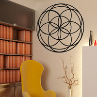 Vinyl Wall Decal Sticker Stained Glass Flower #OS_MB1030