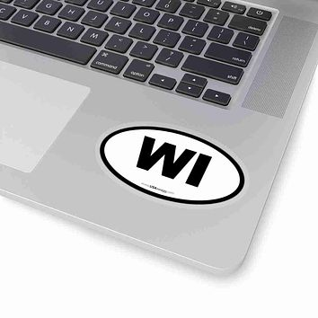 Wisconsin WI Euro Oval Sticker BLACK