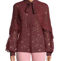 Elie Saab Tie-Neck Long-Sleeve Lace & Tulle Evening Blouse and Matching Items & Matching Items | Neiman Marcus