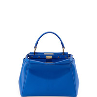 Peekaboo Mini Leather Satchel Bag, Blue - Fendi
