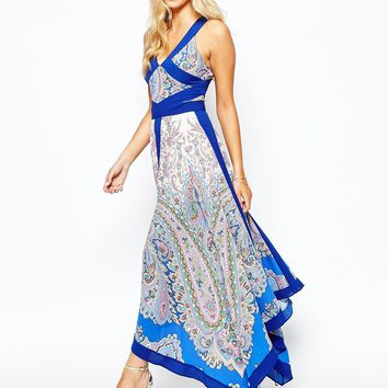 Oasis Paisley Hanky Hem Maxi Dress