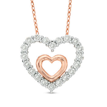 1/10 CT. T.W. Diamond Double Heart Pendant in Sterling Silver and 14K Rose Gold Plate