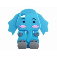 Cute 3D Cartoon Elephant Silicone Case Cover Skin for iPhone 4 4S Blue