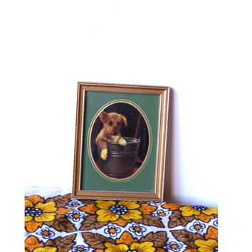 kitsch puppy picture . framed . vintage home decor . puppy in a bucket