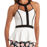 Caged Halter Color Block Peplum Top by Charlotte Russe - White