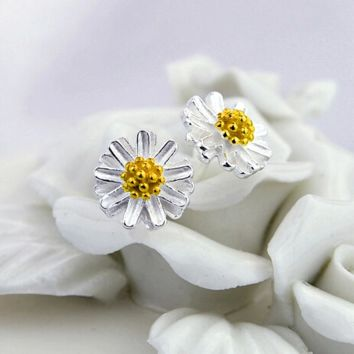 Chic Womens 100% Silver Sterling Daisy Earrings Studs Best Gift
