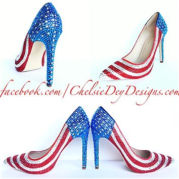 American Flag Rhinestone High Heels, USA Red White Blue Sparkly Pumps, Stars and Stripes Shoes